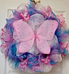 Adorable-Handmade-Butterfly-Deco-Mesh-Baby-or-Summer-Spring-Wreath