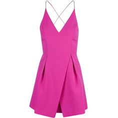 TopShop Strappy Bonded Mini Dress ($84) ❤ liked on Polyvore featuring dresses, bright pink, strap prom dresses, short dresses, short mini dresses, plunging neckline dress and topshop dresses
