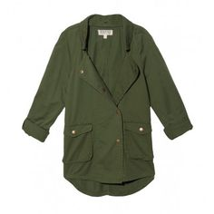 "Double breasted snap button front parka with snap closure front flap pockets. Rolled tab sleeves. 27.5"" from shoulder to hem. 100% cotton. Machine Wash. Made in USA. Model wears size Small. Sizes XS-M. Color: Green"