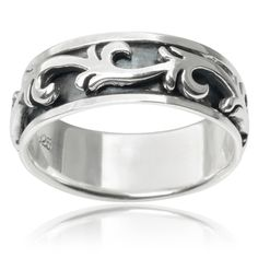Vance Co. Sterling Silver Braid Spinner Band | Overstock.com Shopping - The Best Deals on Sterling Silver Rings