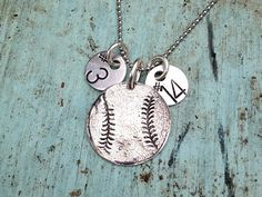 Sterling Silver Baseball Softball Necklace with by sosobellatoo, $46.00
