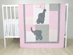 Baby   Quilt,  Elephant Blanket, Pink  Gray Crib Bedding, Safari Nursery  The cute elephant baby blankets nice for boys too, with different colours of course. I used the timeless chevron pattern, and made the applications with patchwork technique. Can be made any size and colour, or with different