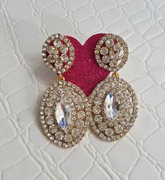 Fast Shipping using First Class Mail Most packages arrive in 2-5 business days!  Amazing sparkling Rhinestone Earrings  Perfect for formal occasions and holiday parties About 5.5cm long