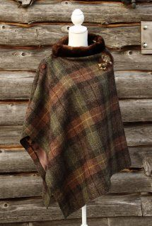 Harriet Hoot Bespoke Harris Tweed & Vintage Mink Cape