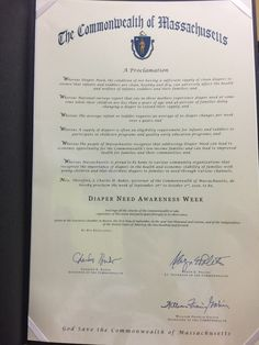 MASSACHUSETTS - Governor Charles D. Baker proclamation recognizing Diaper Need Awareness Week (Sep. 26 -Oct. 2, 2016) #Diaperneed Diaperneed.org