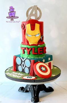 Avengers multi-tiered cake plus so many more great Avengers cake, cookie and cupcake ideas!