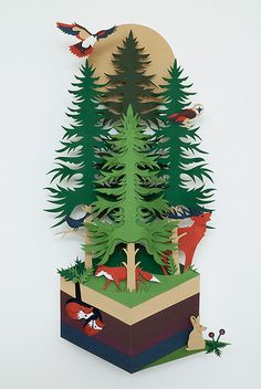"""""""Where paper starts"""" forest animals paper cut 