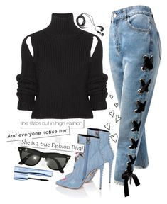 """helium."" by escap3-from-reality ❤ liked on Polyvore featuring Calvin Klein 205W39NYC, Sans Souci, DEOS, Ray-Ban, Estée Lauder, Sweater and cropped"