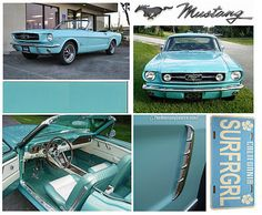 Tropical turquoise Mustang convertible... <3 <3 <3