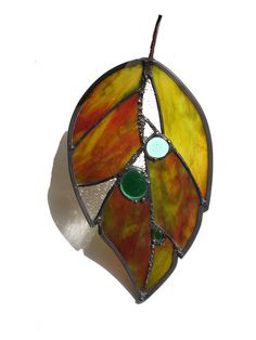 Leaf suncatcher stained glass large by DesignsStainedGlass on Etsy