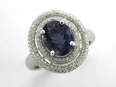 'FREYA' -- Stunning Double Oval Dress Ring, set with Baby Brilliant Cut Diamonds and French Blue Iolite set in White Gold - Dia. Engagement Dresses, Gemstone Engagement Rings, Dress Rings, French Blue, Sapphire, Diamonds, White Gold, Gemstones, Detail
