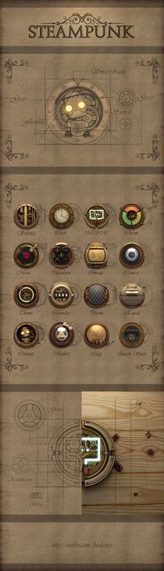 Steampunk ikon set by aiki007, via zcool *** #icon #gui #steampunk ★ Find more at http://www.pinterest.com/competing/