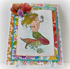 Mermaid Greeting Card Handmade Watercolor Card One of A Kind Stamped Image Handmade Card Blank Inside Greeting Card Hand Painted (5.50 USD) by LilyGraceInspired