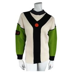 Pre-Owned Jean Paul Gaultier Sport Size L Cream Green & Black Y Ribbed... (940 BRL) ❤ liked on Polyvore featuring tops, sweaters, green, vintage crew neck sweaters, cream top, cream sweater, green top and drop shoulder sweater