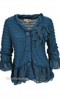 Pretty ladies vintage cardigans with ruffles and vintage lace ...