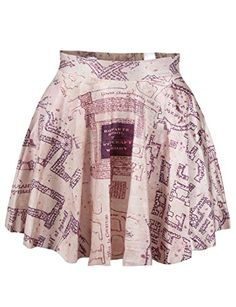Harry Potter Marauders Map Stretchy Womens Digital Print Stretchy Flared Pleated Casual Mini Skirt – Material:Polyester+Spandex.