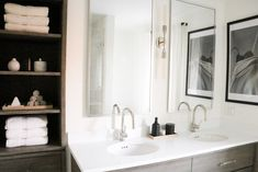 minimalist black and white bathroom Black And White Master Bathroom, White Bathroom, Restoration Hardware Outlet, Marble Showers, Floor Stain, Linen Cabinet, Bathroom Goals, Under Cabinet Lighting, Hudson Valley Lighting