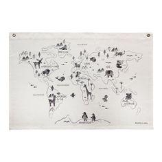 Carte du monde imprimée sur canvas - ROSE IN APRIL - Perlin Paon Paon