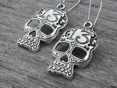 Lucky 13 Silver Skull Earrings by InkandRoses13