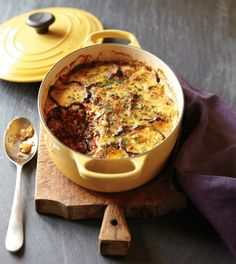 Moussaka - a Greek dish with meat sauce (can use ground beef or lamb) and Bechamel sauce - from Williams-Sonoma