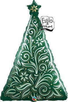 Balão Árvore de Natal Damasco Damask Christmas Tree Acessorios para Festas Artigos para Festas