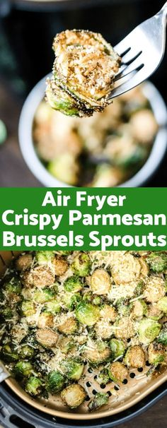 Air Fryer Crispy Parmesan Brussels Sprouts Crispy, cheesy, and majorly delicious; these Air Fryer Crispy Parmesan Brussels Sprouts are going to be your new go-to side dish. Only a handful of ingredients and only 132 calories per serving! Air Fryer Recipes Breakfast, Air Fryer Oven Recipes, Air Frier Recipes, Air Fryer Dinner Recipes, Recipes Dinner, Sprout Recipes, Veggie Recipes, Cooking Recipes, Cooking Tips