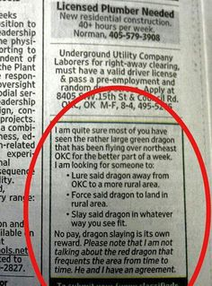 A dragon quest…  Why can't I ever find an ad like this?!