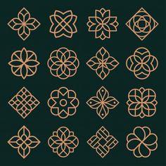 Ornament logo and icon design set. Icon Design, Design Set, 16 Tattoo, Tatoo Henna, Geometric Flower, Geometric Logo, 3d Laser Printer, Motif Art Deco, Bild Tattoos