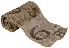 Natural Burlap Ribbon with Stenciled Industrial Numbers. $14.99, via Etsy.