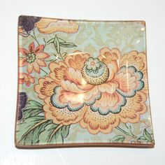 """Glass Plate: Peach and Teal Flower Glass Decoupage Plate 4""""- Coin and Jewelry Dish - Loose Change Dish"""