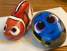 Finding Nemo and Dory fish Disney painted rocks by Holly N.