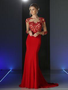 25678cc050 Sheer Three Quarter Sleeve Long Evening Dress