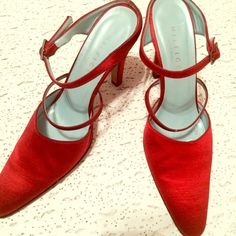 """Tommy Hilfiger Red satin sandals vintage Hot red satin heels  made in Italy /leather  sole /Size 7/ Heels length 3""""/insole length 9.75""""/Width 3"""" approx. Perfect condition regular bottom sole wear since it is vintage. Buy now! Tommy Hilfiger Shoes Sandals"""