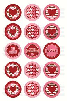 Download instantâneo - Dia dos namorados dos corações tampa de garrafa Imagens - 4x6 Folha Digital - um Circles polegadas para Bottlecaps, Centros de arco de cabelo, & More