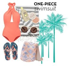 """""""Beach Babe #1"""" by andreajabueg on Polyvore featuring IGH, Lilliput & Felix, Sun Bum, Illesteva, Dar Leone, Fresh and onepieceswimsuit"""