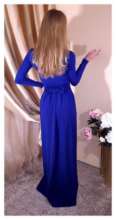 ❖ The top of dress is lined. ❖ If you wish other neckline, sleeves length, instead of slit pocket or Slit over the knees- write it in note. ❖ Material is quality, flexible and stretchy. ❖ In my shop the size scale is different. Please read the dress description and find your size. ❖ #blue #evening #dress #party #stylish #prom #fashion #style