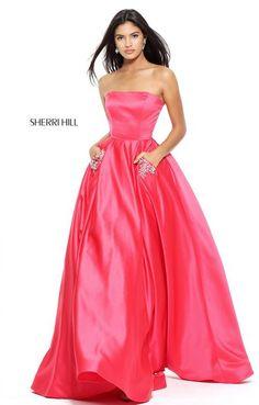 2f662cb95617 Sherri Hill 50812 Blossoms Bridal & Formal Dress Store Strapless Dress  Formal, Neon Prom Dresses