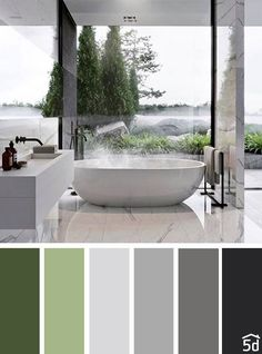 Bathroom Colors Palette Grey 18 Ideas For 2019 Bathroom Color Schemes, House Color Schemes, Bathroom Colors, House Colors, Gray Color Schemes, Green Interior Design, Bathroom Interior Design, Interior Paint, Interior Design Color Schemes