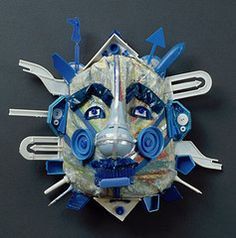 Masks made from found objects, recycled  materials, etc