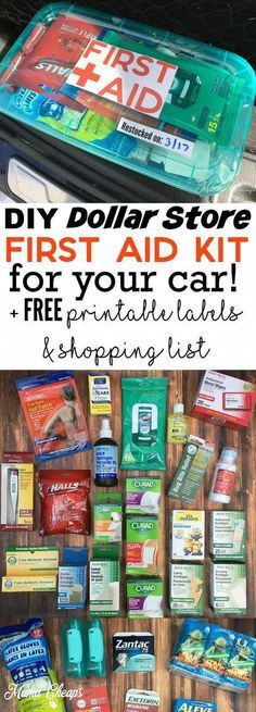DIY dollar shop first aid kit for your car FREE printable labels . - DIY dollar shop first aid kit for your car FREE printable labels and shopping list - Camping Hacks, Camping Info, Auto Camping, Camping Gear, Camping Cot, Car Hacks, Camping Hammock, Camping Trailers, Camping Checklist