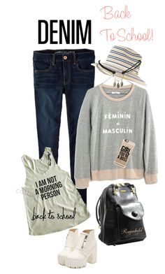 """Back to School Denim"" by ragnh-mjos ❤ liked on Polyvore featuring moda, American Eagle Outfitters, Dr. Martens, Madewell, Eugenia Kim, Wet Seal e Casetify"