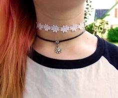 Daisy choker and sunflower choker necklace, 90s grunge hippie hippy daisy trim ribbon lace sunflower charm choker necklace