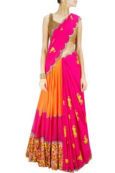 Magenta and coral embroidered lehenga sari available only at Pernia's Pop-Up Shop.