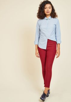 Off to a Good Start-up Button-Up Top in Mid Wash. Innovation is your area of expertise, which is evident by the eye-catching updates to this classic blue button up. #blue #modcloth