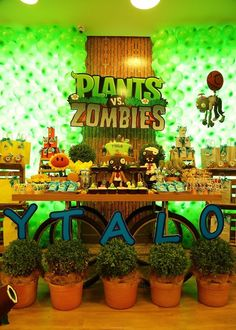 Festa Infantil - Plants vs Zombies - Party Decor - Game Party Decor - Plants vs Zombies - Party Decor