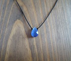 Blue Cats Eye glass silk cord choker necklace faceted by BakGuri