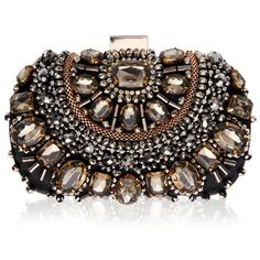 Vintage Styler Ember Embellished Clutch Bag ($85) ❤ liked on Polyvore featuring bags, handbags, clutches, bolsas, purses, brown purse, embellished handbags, vintage handbags, lipsy and vintage clutches