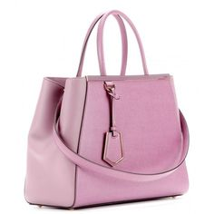 Fendi 2Jours Leather Tote ($1,860) ❤ liked on Polyvore featuring bags, handbags, tote bags, pink handbags, genuine leather tote, pink tote, genuine leather purse and pink leather tote