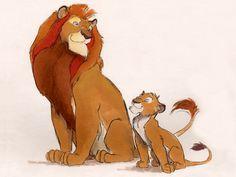 """Mufasa and Simba"" by Chris Sanders* • www.chrissandersart.com Online Store: www.chrissandersart.com/shop"