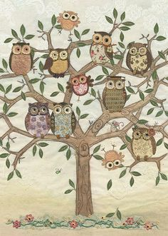 Owl Family, original embroidery by Amy Butcher and card designed by Jane Crowther